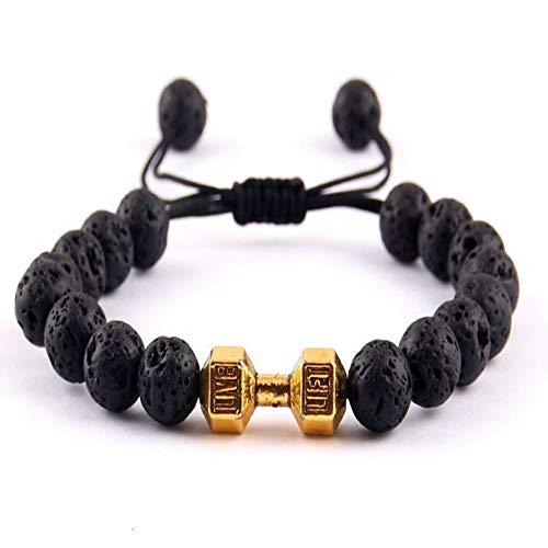 QUNIMD Fitness Hantel Barbell Glamour Gym Herren Energie Armband Lava Rock Perlen Geflochtenes Armband Und Armband Frauen, B