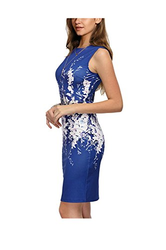 Babyonline® Damen Casual Sommerkleid Etui Business Dress mit Floral Print  GrS3XL Königsblau