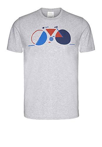 ARMEDANGELS Herren T-Shirt aus Bio-Baumwolle - JAAMES Field Bike - L Grey Melange Fairtrade, GOTS, Organic, CERES-08 -