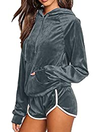 YiiJee Donna Elegante semplicità Tinta Unita Tuta Sportiva Imposta Casuale  Manica Lunga Felpa con Cappuccio Jogging 479829a019e