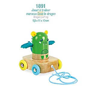 Vilac Maracas - Juguete de Trineo con diseño de dragón, Color Verde