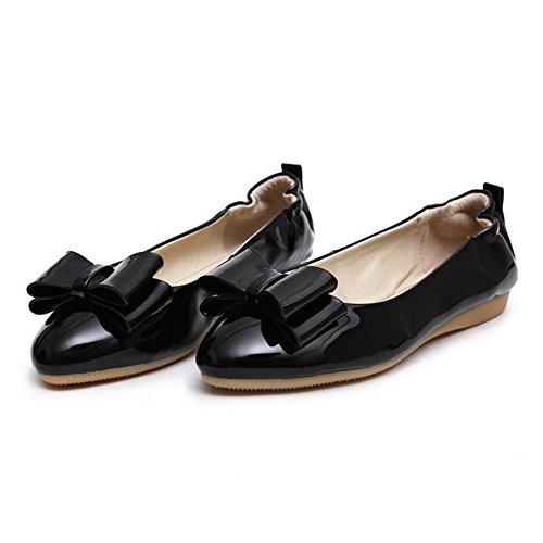 AgooLar Femme Rond Tire Pu Cuir Couleur Unie à Talon Bas Chaussures Légeres Noir