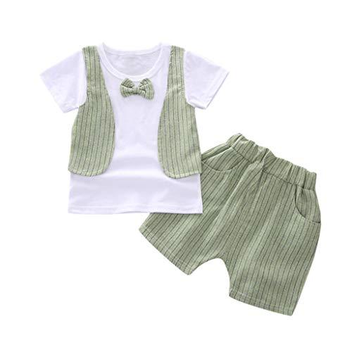 Bekleidungsset Baby Junge Sommer Kurzarmhemd mit Fliege + Shorts mit Hosenträger Baby Anzug Kinderbekleidung Sommer Kleidungs Outfits für Alter 0-5 Jahre alt Pwtchenty (Hosenträger Grünen Bogen-krawatte Und)