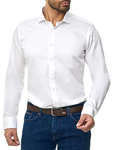 BARBONS Herren-Hemd BÜGELLEICHT - Tailord-Fit - Langarm-Hemd für Business Freizeit Büro - A - Weiß XL (43-44) - Herren Langarm-hemd