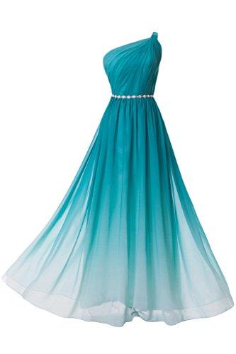 Missdressy Damen Chiffon Abendkleid Lang Ein-Traeger Falte A-Linie-36-Gruen