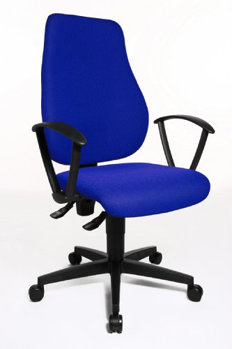 Topstar Trend Star 10 Comfortable Office Swivel Chair with Fix Ring Armrests - Blue