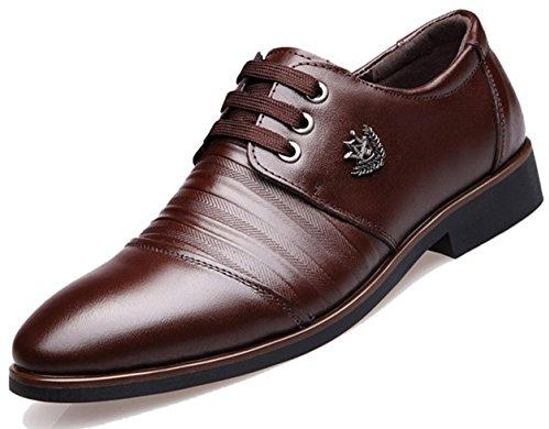 HYLM Scarpe casual di affari degli uomini di I nuovi pattini di cerimonia nuziale del merletto di cuoio hanno indicato i pattini del banchetto del vestito Dark Brown