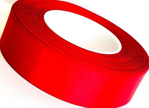 CaPiSo® Satinband 25m x 25mm Schleifenband Satin Geschenkband DEKOBAND (Rot)