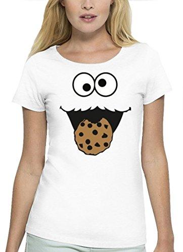 rkleidung Premium Damen T-Shirt Gruppen & Paar Kostüm Blaues Monster Premium, Größe: S,White (Nerd Kostüm Ideen Für Frauen)