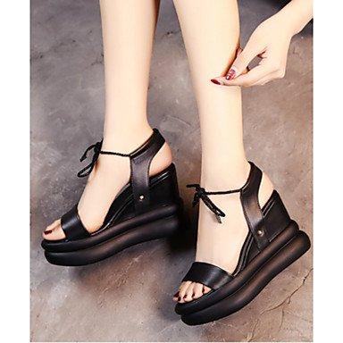 Rugai-eu Summer Fashion Femmes Sandales Casual Pu Chaussures Confort Talons, Marron, Us9 / Eu40 / Uk7 / Cn41 Noir