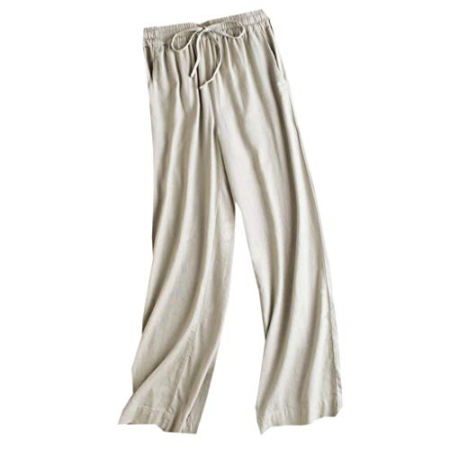 VRTUR Damen Cropped Hose Leinenhose Sommerhose Elegant Weite Hose Chiffon Sommer Streetwear Pants Freizeithose mit Taschen und Gürtel Khaki M/L/XL/XXL/3XL