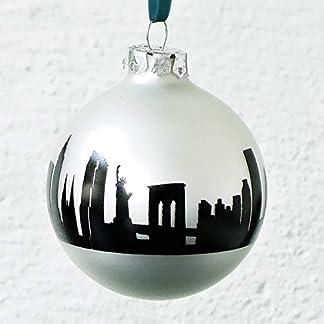 Elegante blanco plateado mate del árbol de Navidad bola de cristal con nueva YORK impresión 44spaces