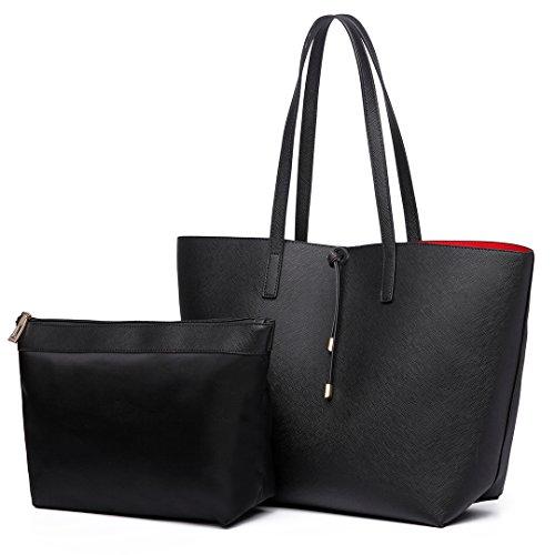 Miss Lulu Faschionable Tote Bag Shopper Schultertasche Umhängetasche PU-Leder Praktisch (Tasche Shopper)
