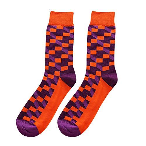 kolila 1 Paar Herren Socken Verkauf Frühling Sommer Neueste Britischen Stil Colorblock Platz Plaid Lässige Mid Socken ()
