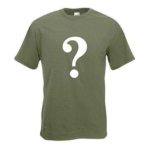 KIWISTAR - Fragezeichen Piktogramm T-Shirt in 15 verschiedenen Farben - Herren Funshirt bedruckt Design Sprüche Spruch Motive Oberteil Baumwolle Print Größe S M L XL XXL Olive
