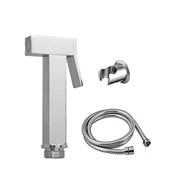 SBD Square Health Faucet Brass with 1m Stainless Steel Tube ans ABS Hook