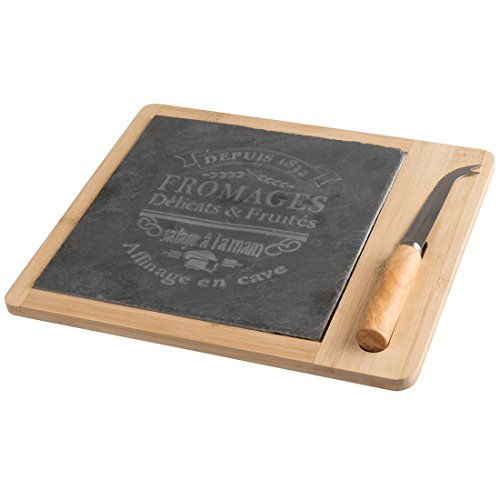 Levivo Käse-Servierset, Schneidbrett aus Bambus und Schiefer inklusive Messer -