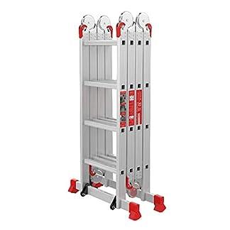 Escalera extensible/ Escalera telescópica Escalera de Aluminio Multiusos | Función de andamio Plegable | Patas Antideslizantes y Barra estabilizadora, Soporte 150 kg, 3,6 m / 4,72 m