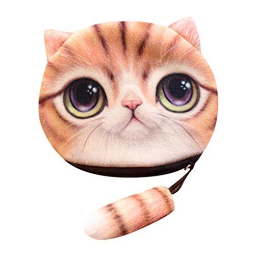 Damen Geldbörse, erthome Frauen 3D Katze Print Mädchen Schwanz Plüsch Geldbörse Geldbörse Brieftasche (D) (Zip Satchel Zurück)