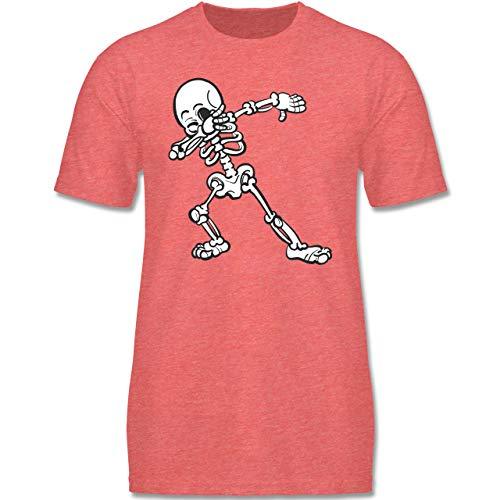 Anlässe Kinder - Dabbing Skelett - 98-104 (3-4 Jahre) - Rot meliert - F140K - Jungen T-Shirt