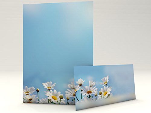 Motivpapier mit Briefumschlag Gänseblümchen 20 Blatt A4 + 20 Kuverts DIN LANG