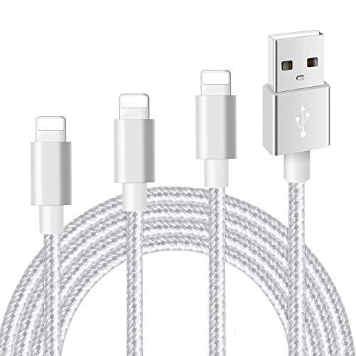 Mitesbony Câble Chargeur Phone Lot de 3【1m+2m+3m】 en Nylon Tressé Cordon Certifié CE Compatible avec Phone X/8/8 Plus/7/7 Plus/6 Plus/6s/6/5S/5c/5,Pad Air,Pad 2/3(Argent)