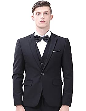 INFLATION Klassisch Slim Fit Schnitt Herren 3-Teilig Anzüge Anzugsuit Men's Suit Reine Farbe Casual Sakko Anzüge...