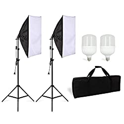 BuSeu Softbox Set Led Beleuchtung Lighting Kit Fotostudio Dauerlicht Studioleuchte Faltbare Softbox 50 x 70 cm inkl. 28w Leuchtmittel Stativ Tragtasche