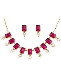 Touchstone Alloy Metal Gold Tone Grand Jewelry Necklace Set For Women