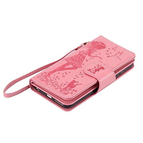 Felfy Hülle für iPhone 6S 4.7 Zoll,iPhone 6 Case,iPhone 6s Ledertasche Case Flip Mappen Kasten 3D Stilvolle Kreative Frau und Katze Design Muster Luxe Case Tasche Geldbeutel PU Leder Book Style Case M Rosa