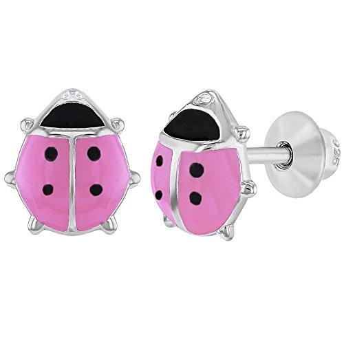 In Season Jewelry - Filles - Coccinelle Boucles d'oreilles - Argent 925/1000 - Émail Rose - Tiges poussettes sécurité à vis In Season Jewelry