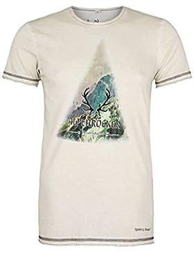 Spieth & Wensky Herren Trachten T-Shirt Alpenrocker, Grau,