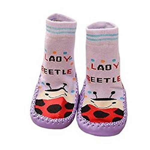 Auxma Cartoon Toddler Enfants Bébé Anti-dérapant Sock Chaussures Bottes Pantoufle Chaussettes pour 0-6 6-18 18-24 mois (18-24 Mois, Gris) Violet