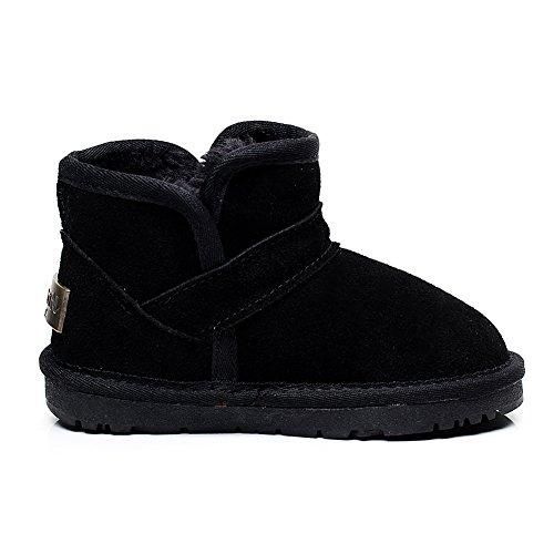 Shenn Jungen Mädchen Comfort warmen netten Veloursleder Schnee-Aufladungen Schwarz