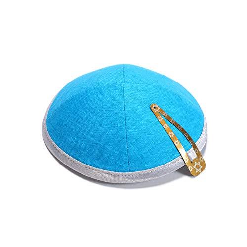 JL Kippha's EBeinante Leinen Turquoise Kippah Yarmulke jüdischen Yamaka Kippa Israel Cap Judaica mit Clip -