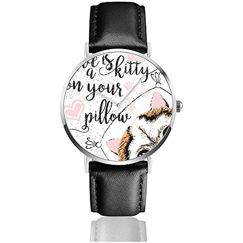 Love is A Kitty On Your Pillow, Love Quote About Pets Women Men 's Fashion Watch PU Leather Strap Casual Wrist Watch