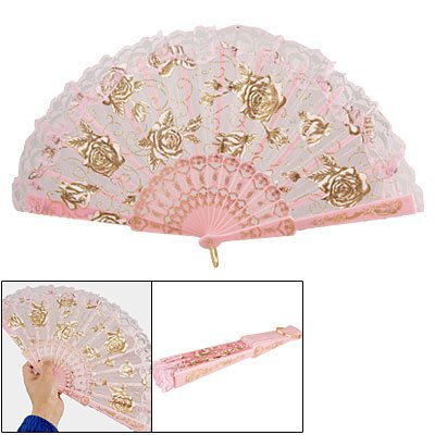 TOOGOO(R) Abanico Plegable de Mano Patron de Rosa Costillas de Plastico -...