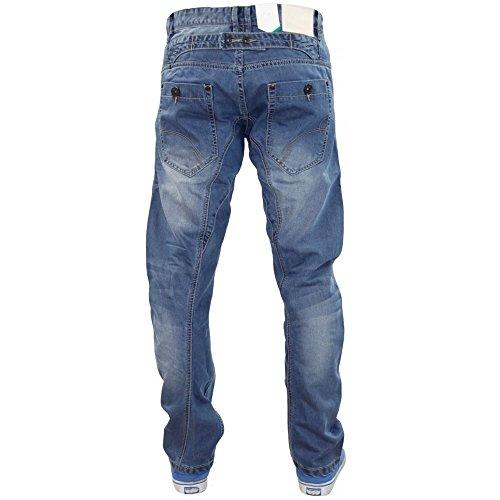 Crosshatch Mens Kractus Midwash Jeans Conique Ajustement Régulier De Concepteur Jambe Tordu Mid Wash