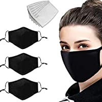 Pack of 3 100% Cotton Face Masks Pocket Filter Nose Wire 6PCS PM2.5 Activated Carbon Filters 4 Layers Reusable, Washable…
