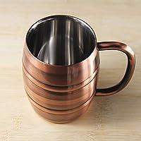 SUNHAO Taza acero inoxidable Doble taza de cerveza de acero inoxidable bronce vintage cubo planchado el