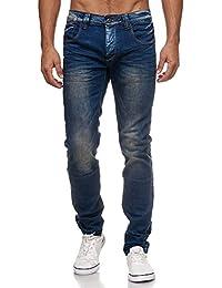 MEGASTYL Herren Hose Jeans Basic Light Washed Leichte Waschung Blau Slim Fit 9e54f7094d