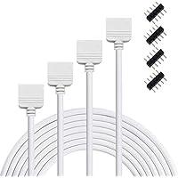 Liwinting 2 Piezas 5 Pin 3Metros/9.84ft Cable de Extensión de RGBW, Conectador de la Tira del LED para la Luz de Tira de SMD 5050 RGBW LED, con 4 Piezas de Conector de 5 Pin - Blanco