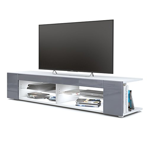 Meuble TV Armoire basse Movie, Corps en Blanc mat / Façades en Gris haute brillance avec l'éclairage LED en Blanc