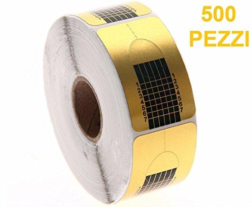 Takestop® set 500 pezzi rotolo cartine oro cartina usa getta per allungamento ricostruzione unghie nail art gel