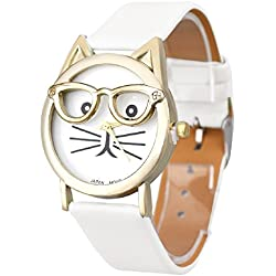 Mallom® Women Lovely Watches Cute Glasses Cat Wrist Watch White