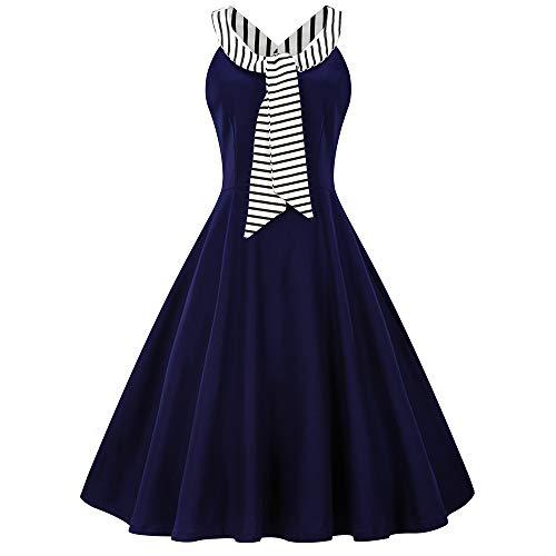 men Kleider,Cocktailkleider ärmellos Vintage Swing Festliches Partykleider,Rockabilly Petticoat Faltenrock Freizeitkleid Abendkleid (Blau,4XL) ()