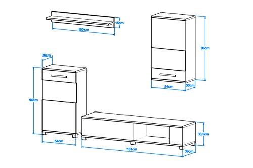 ANNE Moderne Wohnwand, Exklusive Mediamöbel, TV-Schrank, Neue Garnitur, Große Farbauswahl (RGB LED-Beleuchtung Verfügbar) (Weiß MAT base / Weiß MAT front, Möbel) - 2