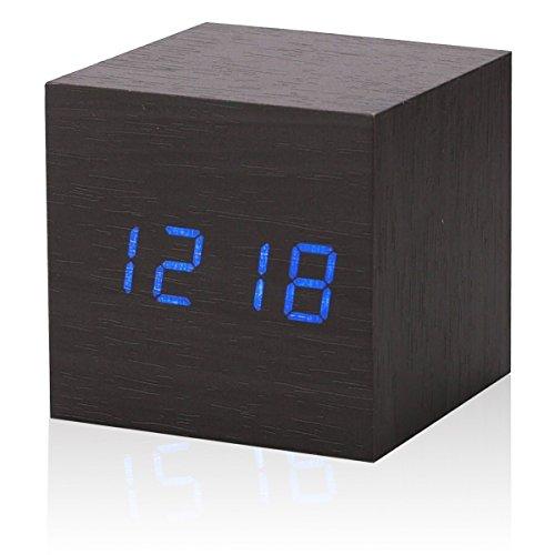 Cadillaps Holz Tischuhr LED Wecker Digital Uhr Schlafzimmer Zeit Kalender Temperatur Rechteck Uhren