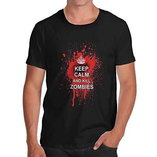 Twisted Envy Herren Keep Calm And Kill Zombies Bio Baumwolle T-Shirt Gr. X-Large, Schwarz - Schwarz