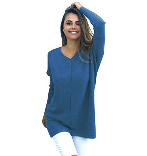 Pull Long Maille Femme Pull Tunique Oversize Manches Longues Col V Ample Chaud Hiver Epais Pull Robe Habillé Sweater Loose Large Tricot Chandail Jumper Tops Beau Automne Bleu Clair